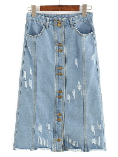 Frayed Buttoned Front Midi Denim Skirt