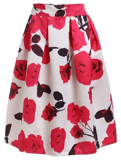Rose Print Box Pleated Midi Skirt - White