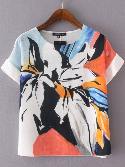 Multicolor Short Sleeve Flower Print Blouse