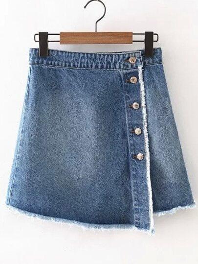Blue Buttons Split Side Fringed Denim Skirt