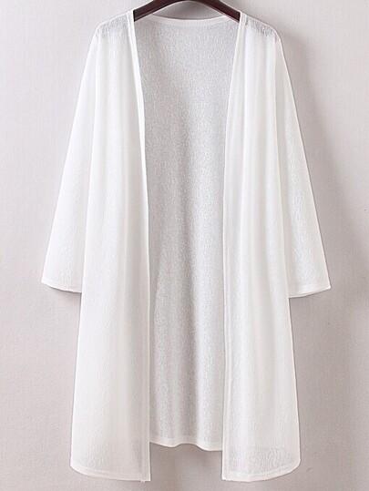 White Long Sleeve Split Side Cardigan Outerwear