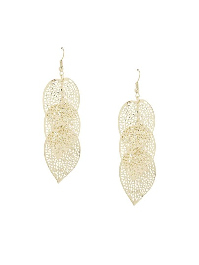 Tiered Cutout Leaf Drop Earrings - Gold