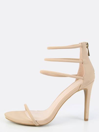 Triple Strap Single Sole Heels NUDE