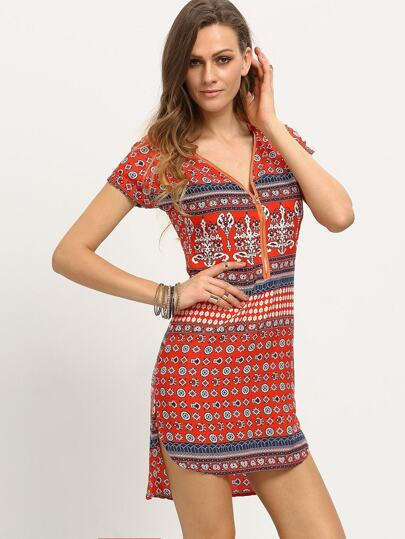 Zip Front Tribal Print High-Low Dress