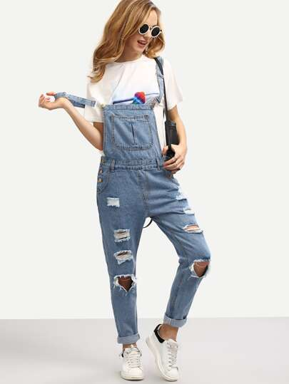 Ripped Overall Boyfriend Jeans