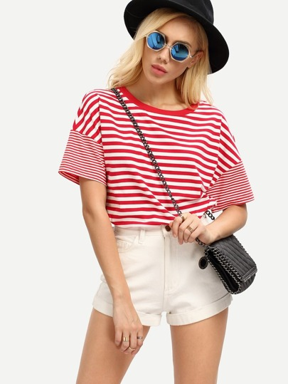 Red White Striped Short Sleeve T-shirt