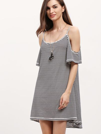 Black White Striped Cold Shoulder Shift Dress