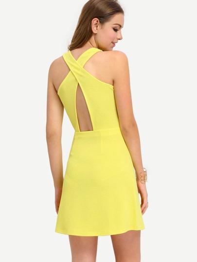 Yellow Sleeveless Hollow Back Dress