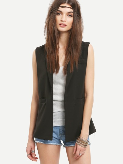 Three Pocket Front Sleeveless Blazer - Black