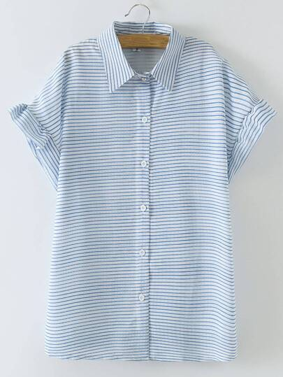 Blue Buttons Front Bell Sleeve Stripe Blouse