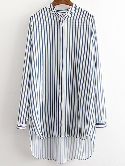 Blue White Stripe Buttons Front High Low Shirt Dress
