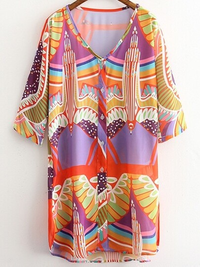 Multicolor Half Sleeve Buttons Front Print Dress