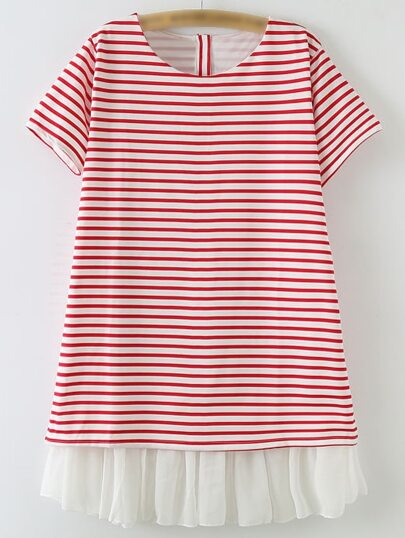 Red Ruffle Hem Buttons Back Loose Stripe Dress