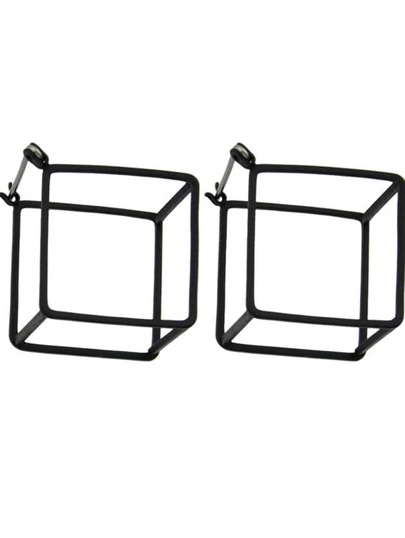 Black Plated Square Stud Earrings