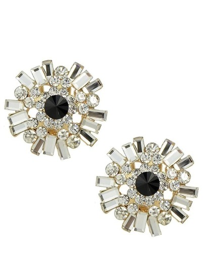 Black Rhinestone Stud Earrings