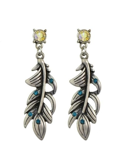 Blue Rhinestone Leaf Drop Earrings