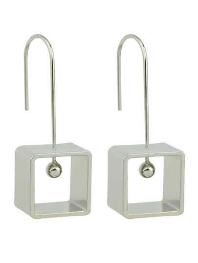Silver Square Drop Earrings