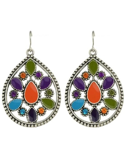 Colorful Enamel Long Drop Earrings