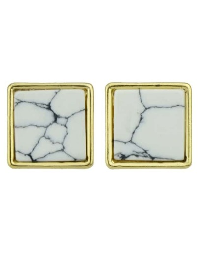 Square Different Shape Stud Earrings