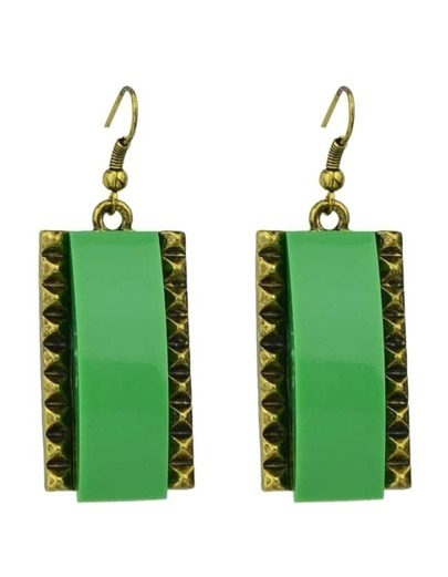 Green Square Drop Earrings