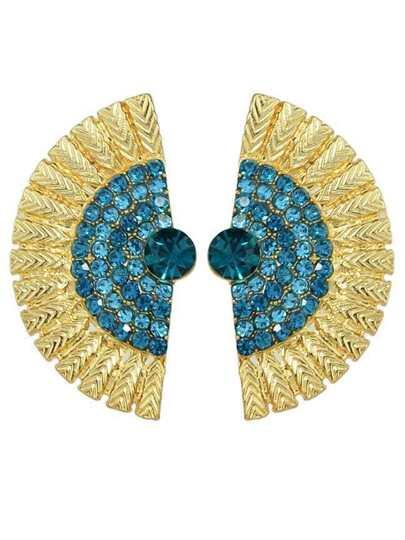 Lakeblue Rhinestone Feather Shape Stud Earrings