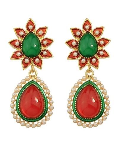 Colorful Gemstone Pearl Drop Long Earrings