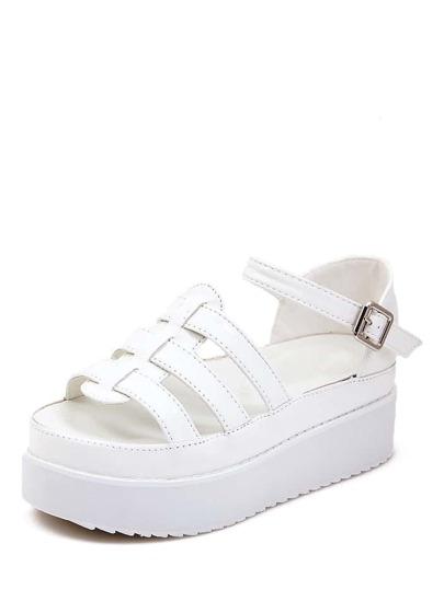 Sandalias de cuña faux cuero abierto -blanco