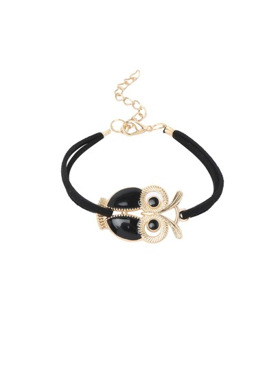 Black Owl high-shine Lobster Clasp Vintage Hand Chain