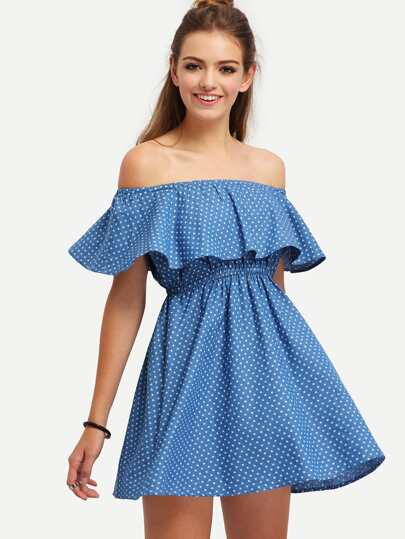Blue Off The Shoulder Starts Print Dress