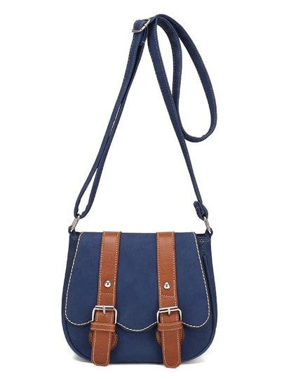 Contrast Dual Buckle Strap Saddle Bag