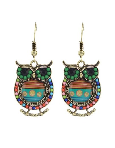 Green Enamel Beads Owl Shape Earrings