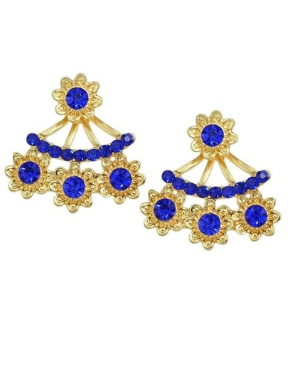 Blue Rhinestone Stud Earrings