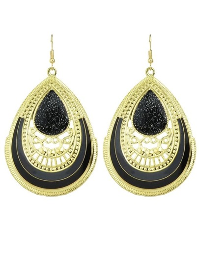 Black Enamel Big Drop Earrings