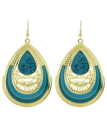 Green  Enamel Big Drop Earrings