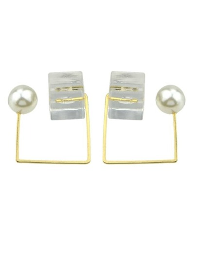 White Stone Pearl Stud Earrings