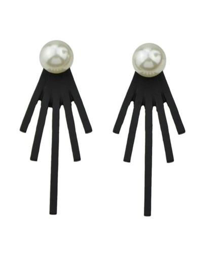 Black Pearl Spike Stud Earrings