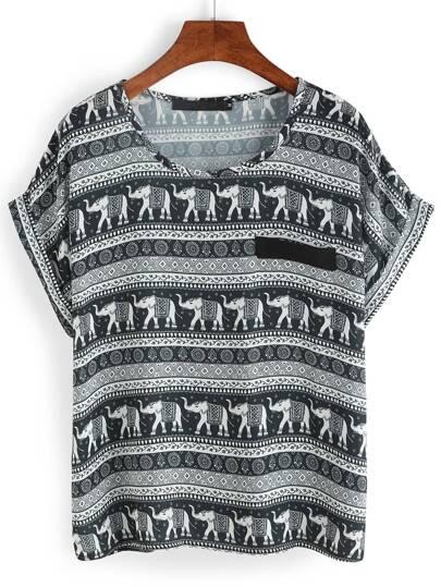 Black Elephant Print Cuffed Chiffon T-Shirt