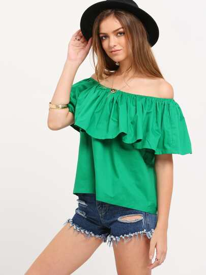 Green Boat Neck Ruffle Shirt