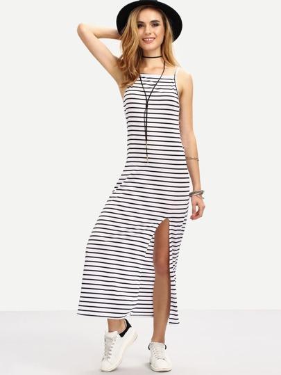 Striped Backless Split Cami Dress