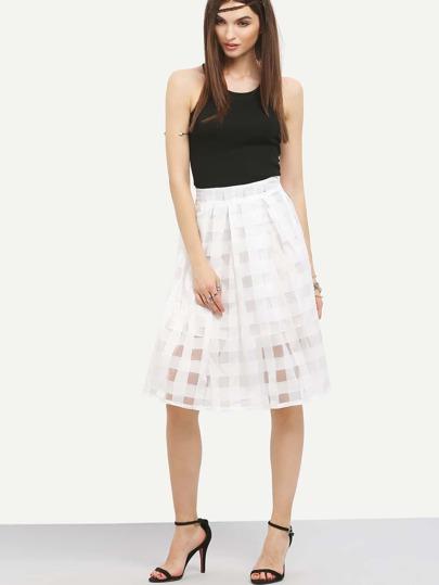 Plaid Organza Flare Skirt