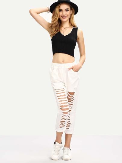 Elastic Waist Distressed White Denim Jeans