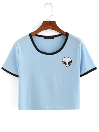 Blue Crew Neck Alien Print Crop T-Shirt