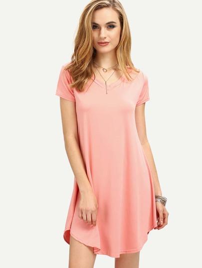 V-Neck Curved Hem Swing Dress - Pink