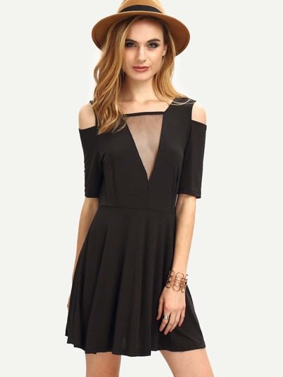 Mesh V-Neck Cutout Shoulder Skater Dress