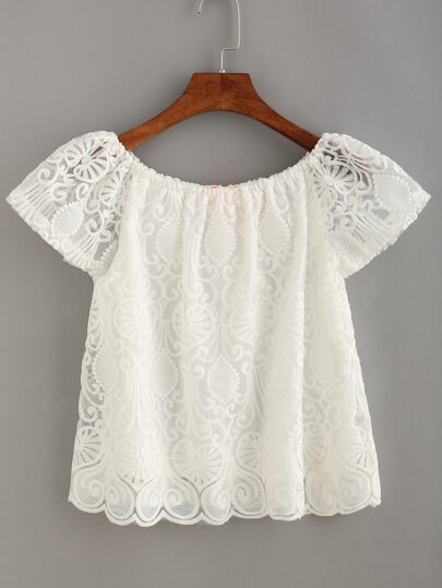 Scalloped Hem Embroidered Mesh Top