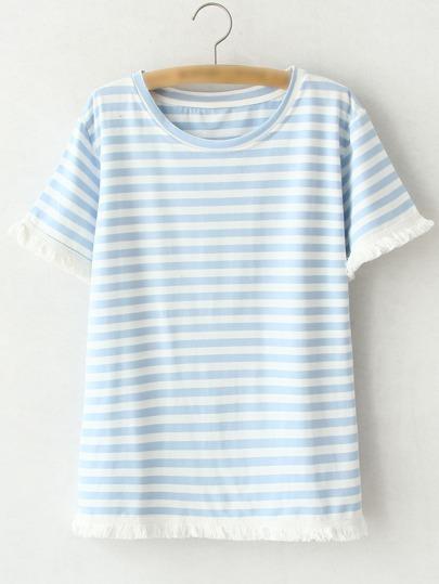 Camiseta manga corta flecos rayas -azul