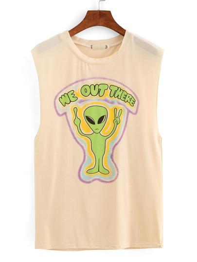 Alien Print Drop Armhole Sleeveless Top