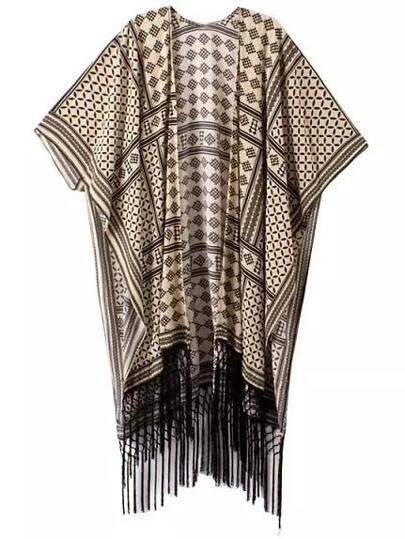 Multicolor Print Batwing Sleeve Fringe Cardigan Kimono