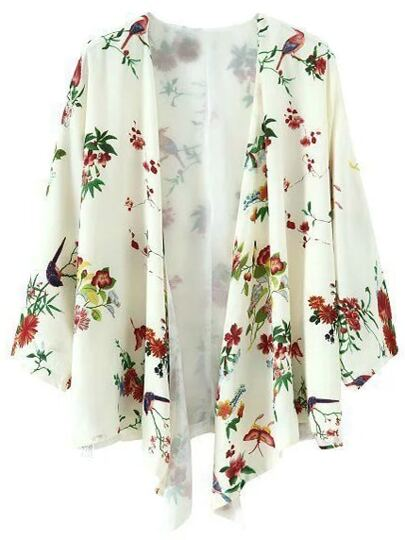 Multicolor Long Sleeve Birds Print Cardigan Kimono