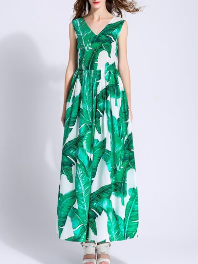 Green V Neck Print A-Line Maxi Dress